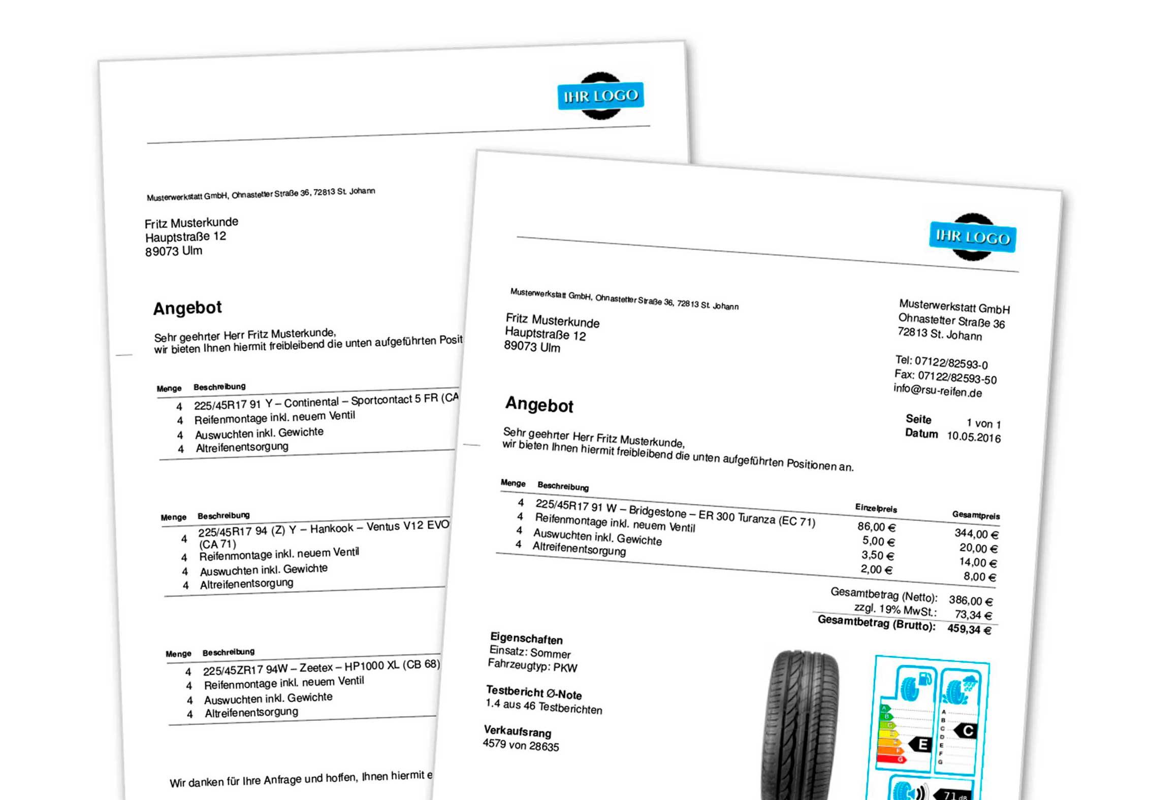 Mustervorlage für ein individuelles Angebot mit eigenem Logo und eigenen Texten