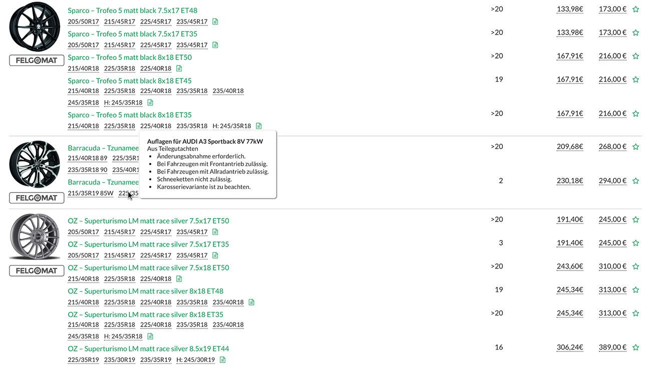 Screenshot der automatischen Gutachtenprüfung in TyreSystem
