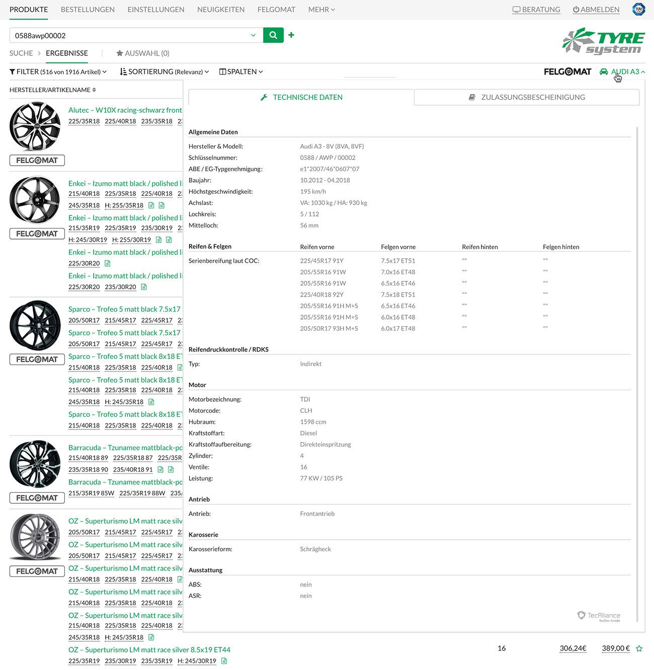 Screenshot der ausführlichen Fahrzeugdaten und COC-Daten in TyreSystem