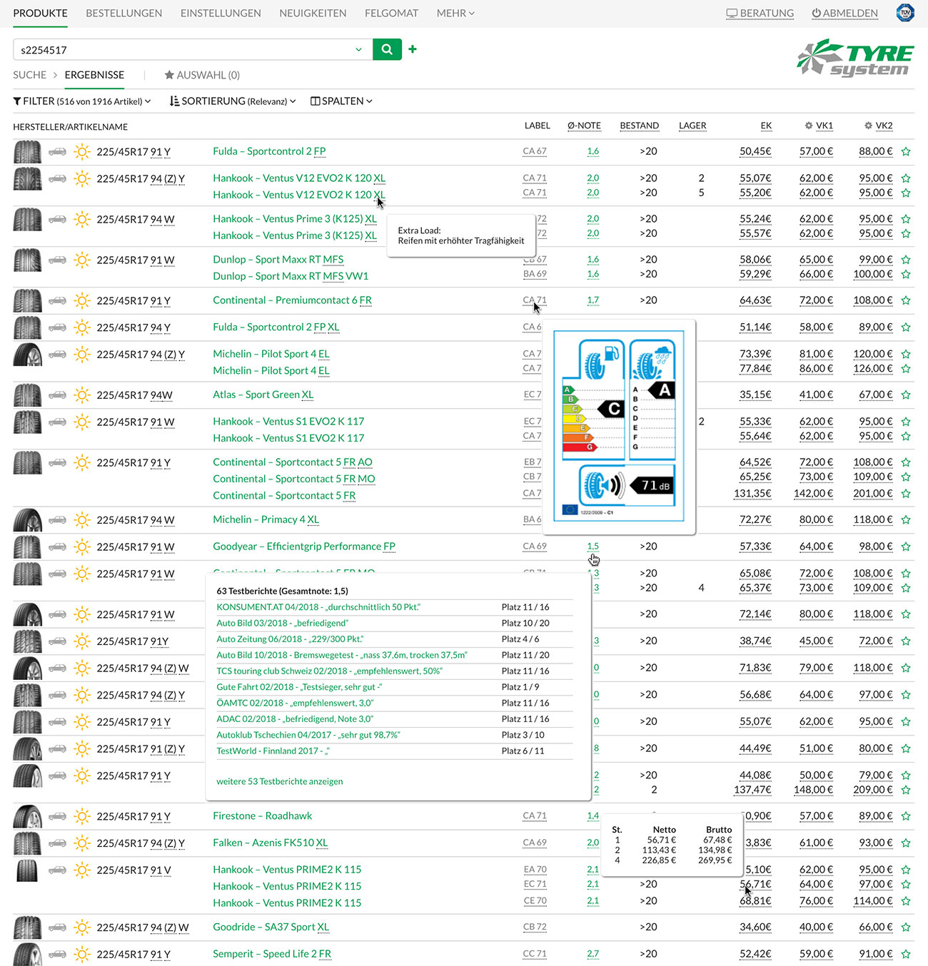 Screenshot der informativen Ergebnisliste in TyreSystem